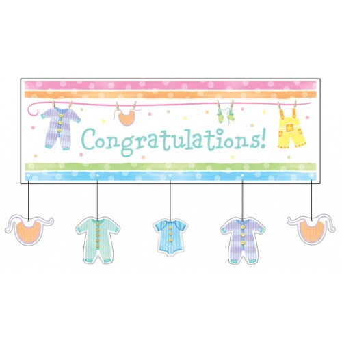 Baby Clothes Baby Shower GIANT Congratulations Banner