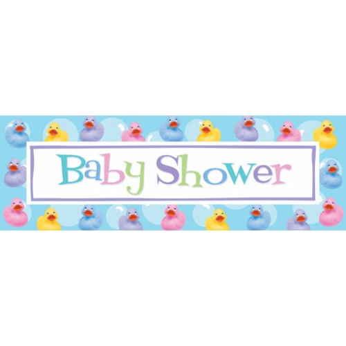 Rubber ducky baby shower giant banner bubbles and Baby shower banners