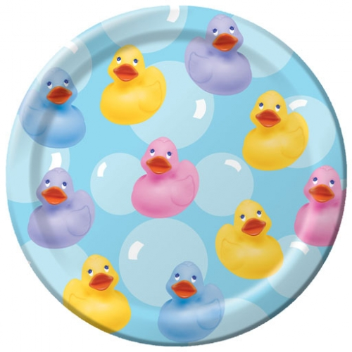 rubber ducky baby shower plate bubbles and rainbows party supplies