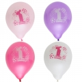My 1st Birthday Pink Printed Latex Balloons Asst. Pack of 8