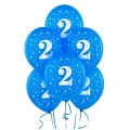 Blue Medium  No. 2  Latex Balloons 6 Pack
