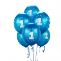 Cyan Blue No. 1 Latex Balloons 6 Pack