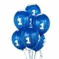 Blue Royal No. 1  Latex Balloons 6 Pack