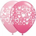 Double Hearts Assorted Balloons in Pink and Rose
