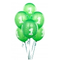 Green Lime No. 1  Latex Balloons 6 Pack