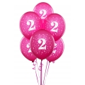 Hot Pink No. 2  Latex Balloons 6 Pack