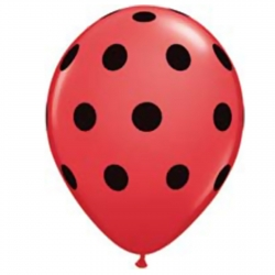 Ladybug ~ Red with black spots Latex Balloons 6 Pack