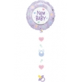 New Baby Drop a Line Foil Balloon with Danglers