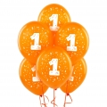 Orange No. 1  Latex Balloons 6 Pack