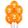 Orange No. 2  Latex Balloons 6 Pack