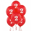 Red No. 2  Latex Balloons 6 Pack
