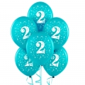 Blue Turquoise  No. 2  Latex Balloons 6 Pack