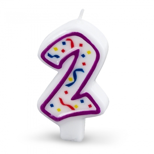 2nd Birthday Polka Dot No2 Candle