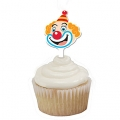 Circus Big Top Birthday Clown Face Cupcake Toppers (12)