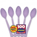 Cutlery Light Purple Bulk Pack 100 Spoons