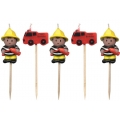 Firefighter / Fireman Fire Engine / Trucks Party Candles (5)