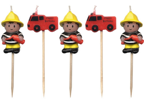 Firefighter Fireman Fire Engine Trucks Party Candles 5