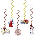 Firefighter / Fireman Fire Engine Party Hanging Whirls - PREORDER FOR LATE AUGUST ARRIVAL