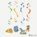 Zoo Animal Dangling Swirls Pack of 12