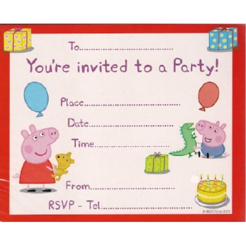 Olivia Pig Party Invites (6) - Bubbles and Rainbows Party Supplies and Gift Lines