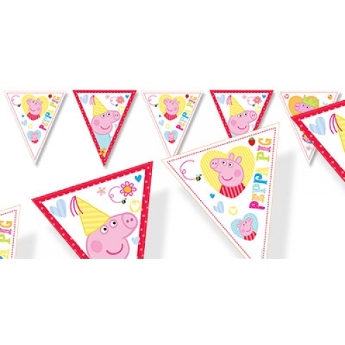 Peppa pig flag bunting new red boys themes bubbles for Missile peppa pig
