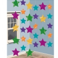 Hanging Stars Pack (6) Multi coloured  Decoration - red, blue, yellow, green, silver &amp; purple