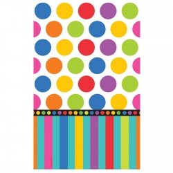 Rainbow Coloured Dots &amp; Stripes Tablecover