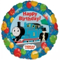 "Thomas the Tank Engine Party Foil Balloon with coloured balloons and ""Happy Birthday"""