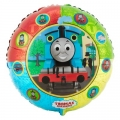 Thomas the Tank Engine Party Foil Balloon with small pictures around the edge